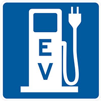 Highway sign with electric vehicle charging station symbol