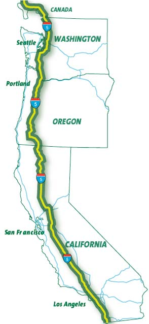I-5 West Coast Green Highway map