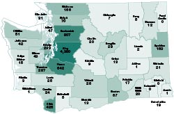 map of electric vehicle registration in washington state by county